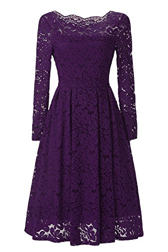Viwenni Women's Vintage Floral Lace Cocktail Summer Swing Dress XL Purple