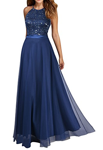 Viwenni Women's Vintage Lace Evening Party Wedding Long Dress L Blue