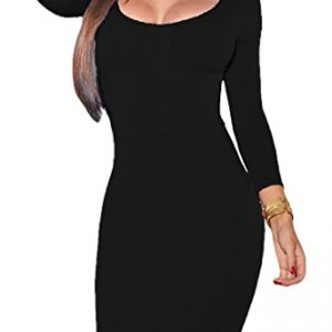 VOGRACE Women's Scoop Neck 3/4 Sleeve Bodycon Pencil Dress Party Mini Dress XL Black