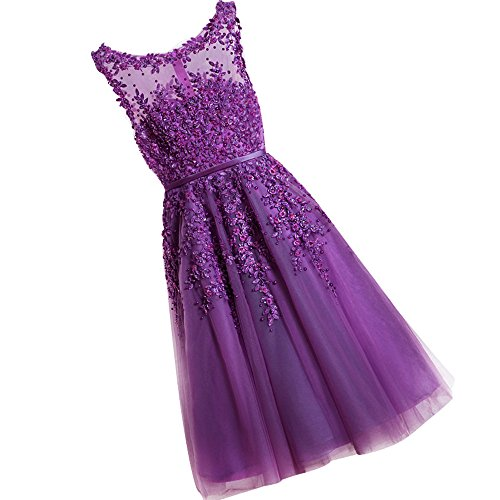 WDING Women Short Prom Dresses Knee Length Evening Party Dresses Lace Appliques with Pearls Cocktail Gowns Purple,US16