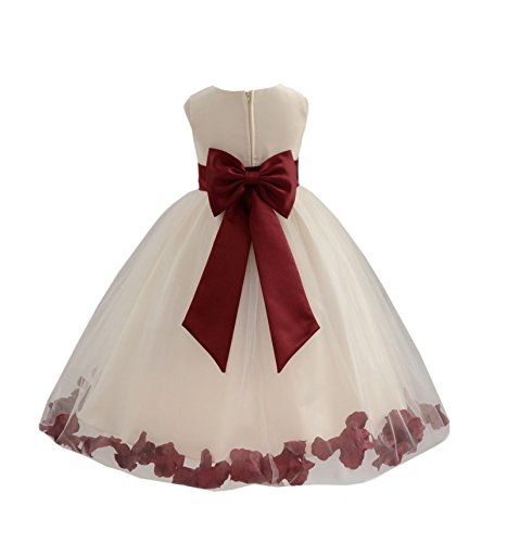 Wedding Pageant Flower Petals Girl Ivory Dress with Bow Tie Sash 302a 6
