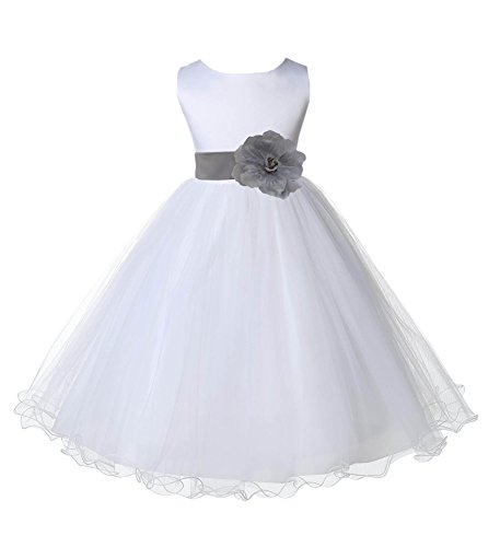 Wedding Pageant White Flower Girl Rattail Edge Tulle Dress 829s 4