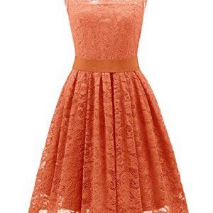 Wedtrend Women's Floral Lace Bridesmaids Dress Short Prom Party Dress WT10103OrangeXXL
