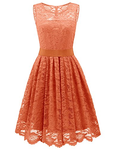 Wedtrend Women's Floral Lace Bridesmaids Dress Short Prom Party Dress WT10103OrangeXXL