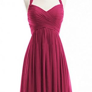 WeiYin Women's Halter Short Party Dress Bridesmaid Dresses Fuchsia US 2