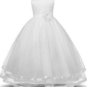 WEONEDREAM Flower Girl Dresses for Weddings Dresses Elegant First Communion Pageant Party Kids Sleeveless Long Dress Tea Length (Ivory, 140)