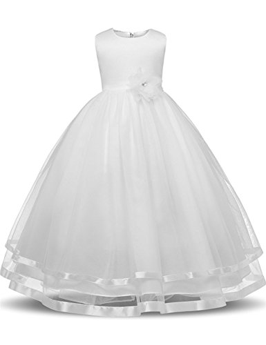 WEONEDREAM Flower Girl Dresses for Weddings Dresses Elegant First Communion Pageant Party Kids Sleeveless Long Dress Tea Length (Ivory, 140)