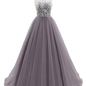 WHENOW Women's Sleeveless Lace Long Prom Dresses Party Ball Gowns Grey US 22