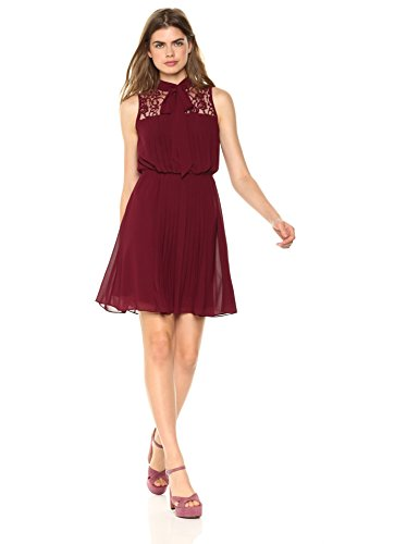 Wild Meadow Women's Pleated Chiffon Neck Tie Dress XS Wine