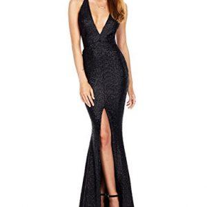 Women Deep V Neck Gown Front Split Sexy Evening Dress Small Black