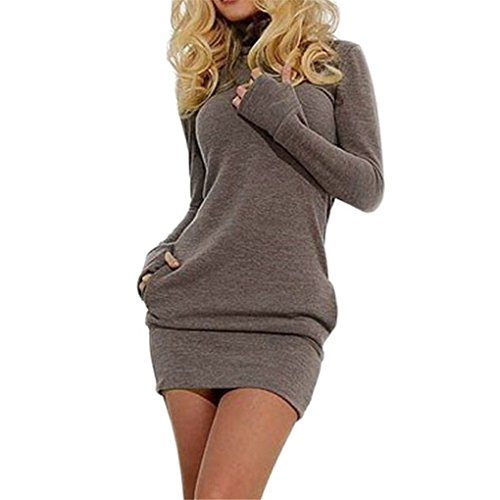 Women Dress,Haoricu Fall Sexy Women Bodycon Long Sleeve Pullover Mini Evening Party Dress (M, Coffee)
