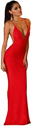 Women Sexy Backless Evening Maxi Gown Prom Formal Special Occasion Dress Red M