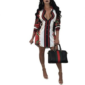 Women Sexy Long Sleeve Floral Print Button-Down Shirt Blouse Mini Dress Top Black 2XL