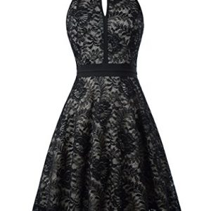 Women Sleeveless Lace Dress Halter Black Night out Swing Dress KK638-1 S