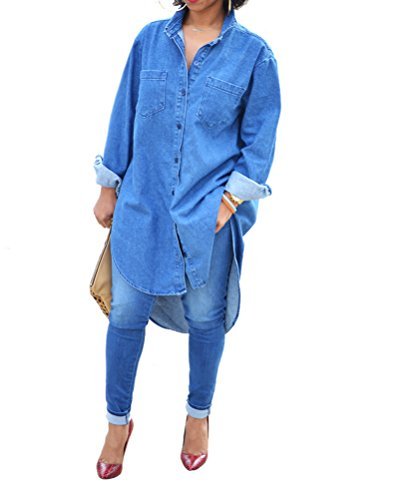 Womens Causal Denim Cuffed Sleeve Button Irregular Hem Loose Clubwear Midi Dress Denim XL