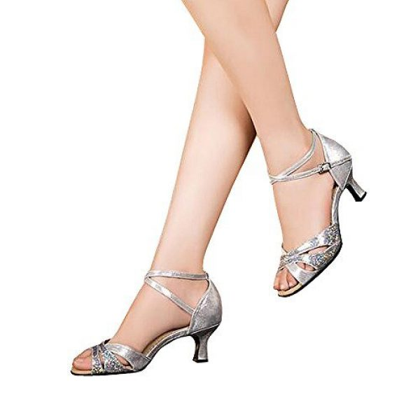 Women's Latin dance shoes with soft sole female Latin sandals Ballroom Dance Shoes (8 B(M) US, silver)