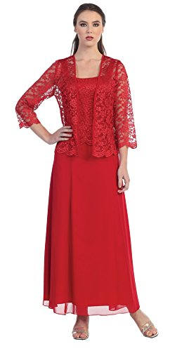 Womens Long Mother Of The Bride Plus Size Formal Lace Dress With Jacket (Large, Red)