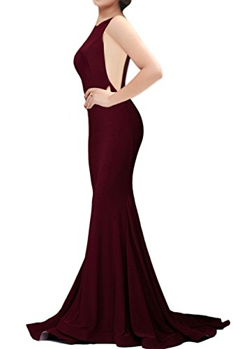 Women's Sexy Mermaid V Neck Deep Back Long Evening Prom Dresses, Burgundy, Medium