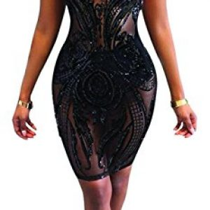 Womens Sexy See Through Sheer Floral Black Dresses Mock Neck Backless Cocktail Mini Dress Outfits Girls