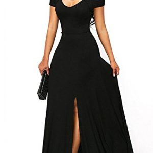 Women's Sexy V Neck Cold Shoulder Short Sleeve Maxi Dress Split Formal Evening Party Long Dress Prom Gowns Solid Black L 12 14