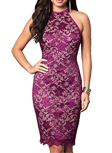 WOOSEA Women's Elegant Sleeveless Floral Lace Vintage Midi Cocktail Party Dress (Medium, Purple #2)