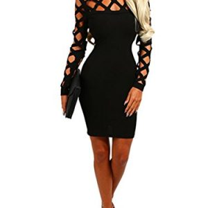 Wuxh Women's Sexy Long Sleeve Hollow Out Cocktail Clubwear Party Mini Bandage Bodycon Dress (Large, Black)