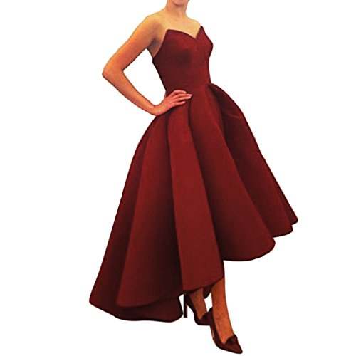 Xoemir 2017 New Arrival High Low Burgundy Dress for Beach Wedding Dress, 20w