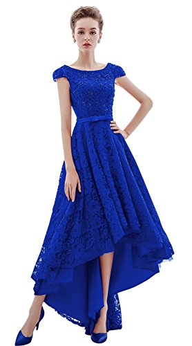 Xoemir 2017 New Arrival High Low Special Occasion Dresses Cap Sleeve Royal, 8