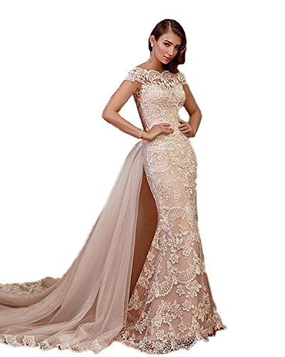XSWPL Womens 2018 New Arrival Long Mermaid Wedding Dresses for Brides with Tulle Train Champagne US4