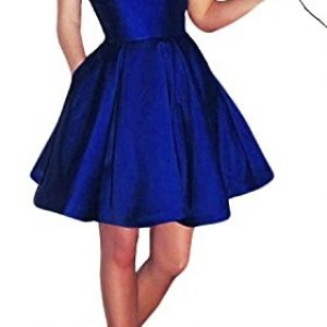 Yangprom Short Spaghetti Straps V-neck A-line Homecoming Dress with Pockets 4