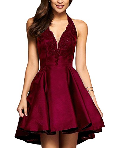 Yilis A-line Satin with Lace Applique Party Prom Dress Short Homecoming Dress (Burgundy,14)