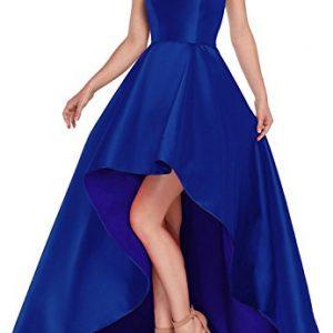 Yilis Women's High Neck Halter A Line Satin High Low Prom Dress Wedding Evening Dress Royal Blue US4