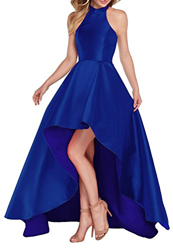Yilis Women's High Neck Halter A Line Satin High Low Prom Dress Wedding Evening Dress Royal Blue US4
