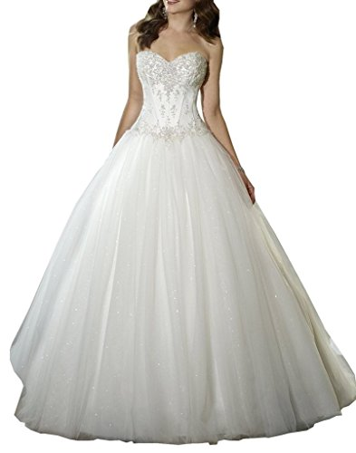 YIPEISHA Sweetheart Beaded Corset Bodice Classic Tulle Wedding Dress 22W Ivory