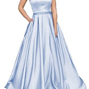 YORFORMALS Halter A-Line Beaded Satin Plus Size Formal Party Dress Long Evening Gown With Pockets Size 24 Ice Blue