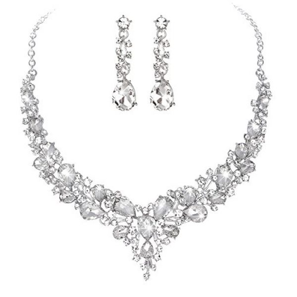 Youfir Bridal Austrian Crystal Necklace and Earrings Jewelry Set Gifts fit with Wedding Dress(Clear)