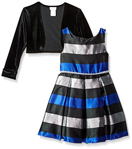 Youngland Big Girls' 2 Pc Set, Pleated Striped Dress With Cardigan, Grey/Black/Silver, 16