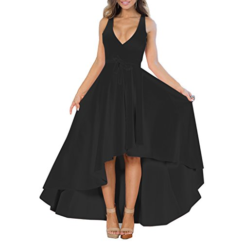 YS.DAMAI Women's Sexy V Neck Sleeveless Irregular Hem Elegant Cocktail Party Evening Dresses (Small, Black)