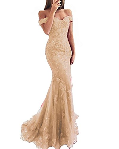 YSMei Lace Mermaid Tulle Prom Dresses Off Shoulder Long Beaded Formal Party Gown Champagne 04