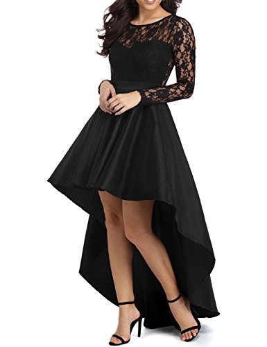 YSMei Women's High Low Long Sleeve Prom Evening Dress Lace ...