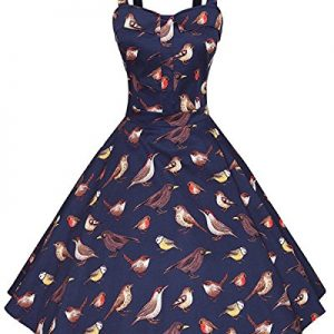 ZAFUL 1950s Vintage Rockabilly Floral Sleeveless Swing Casual Cocktail Party Dress (M, Navy(Bird Print))
