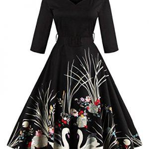 ZAFUL Women's 50s Vintage Floral V-Neck 3/4 Sleeve Swing Party Dresses With Belt (M, Black)
