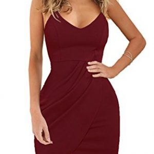 Zalalus Women's Bodycon Cocktail Party Dresses Deep V Neck Backless Spaghetti Straps Sexy Summer Short Casual Club Dress Above Knee Length Sleeveless Wine Red Medium