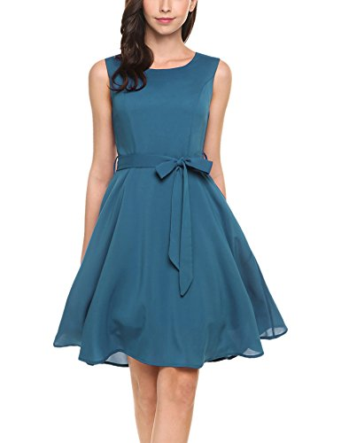 Zeagoo Women Chiffon Sleeveless Short Bridesmaids Cocktail Party Dress,Navy Blue,L