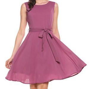 Zeagoo Women's Summer Chiffon Sleeveless Party Dress(Pink Purple,S)