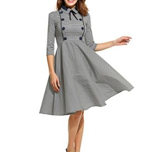 ANGVNS Women's Elegant Vintage 1940's 3/4 Sleeve Large Swing Official Plaid Slim Dress