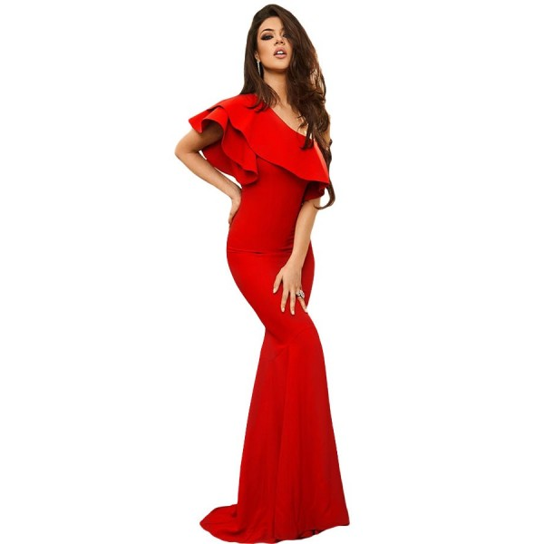red-ruffle-one-shoulder-elegant-mermaid-dress