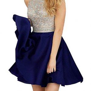 2016 Beading Neck Open Back Royal Short Blue Homecoming Dresses