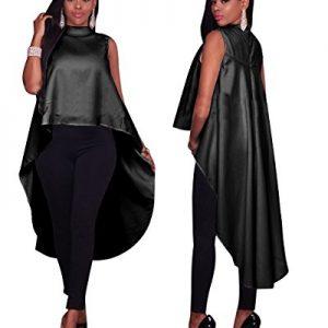 2017 New Arrival Casual Style Cloak Cape Dress Women Fashion Drawstring Asymmetrical Dress Quniwo (M, black)