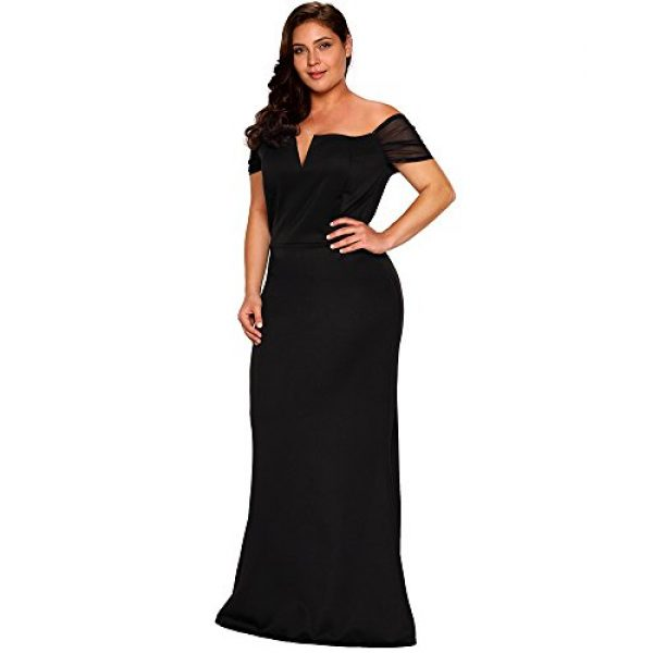 Lalagen Womens Plus Size Off Shoulder Long Formal Party Dress Evening Gown XXL Black At IZIDRESS